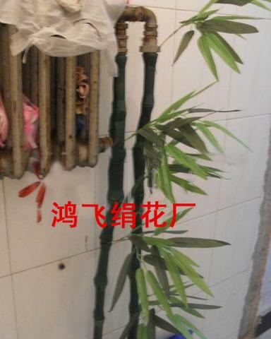 供应装饰水管仿真塑料竹子皮 仿真竹皮 仿真竹; 下水管道装修效果